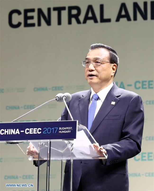 Chinese Premier Li Keqiang delivers a speech at the opening ceremony of the seventh China and the Central and Eastern European countries (CEEC) Economic and Trade Forum in Budapest, Hungary, Nov. 27, 2017. [Photo: Xinhua/Ju Peng]
