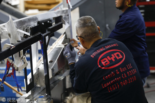 Employees manufacture electric vehicles at the BYD Coach and Bus factory in Lancaster, California, U.S. [Photo: VCG]