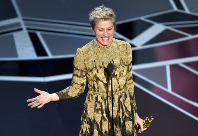 "Francis McDormand accepts the award for best performance by an actress in a leading role for ""Three Billboards Outside Ebbing, Missouri"" at the Oscars on Sunday, March 4, 2018, at the Dolby Theatre in Los Angeles. [Photo: AP]"