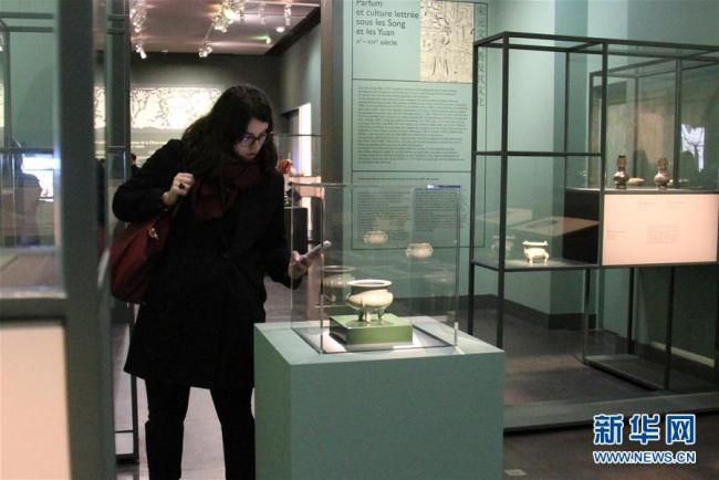 """The exhibition """"Perfumes of China"""" opens at the Cernuschi Museum in Paris on March 9, 2018. [Photo: Xinhua]"""