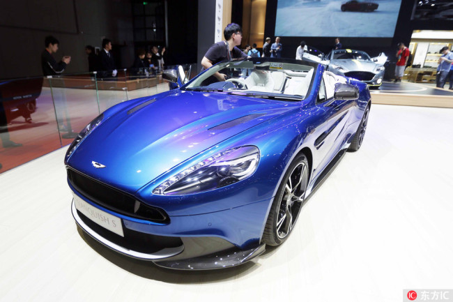 An Aston Martin Vanquish S is on display during a launch event of Volkswagen ahead of the 17th Shanghai International Automobile Industry Exhibition, also known as Auto Shanghai 2017, in Shanghai, China, April 18, 2017. [File Photo: IC]