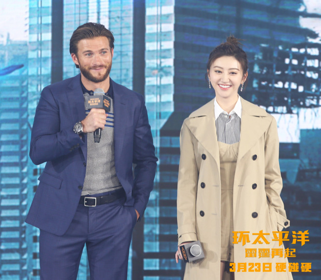 """Actor Scott Eastwood and Chinese actress Jing Tian attended a promotional event in Beijing for """"Pacific Rim Uprising"""" on Monday, March 12, 2018. [Photo: China Plus]"""