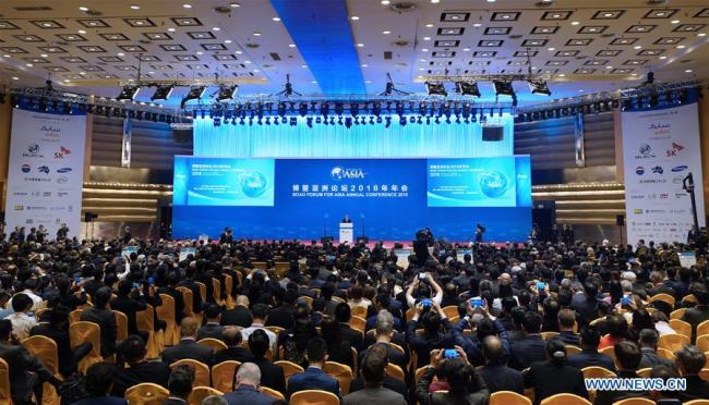 The opening ceremony of the Boao Forum for Asia (BFA) annual conference is held in Boao, south China's Hainan Province, April 10, 2018. [Photo: Xinhua]
