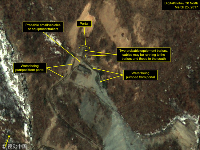 Probable cabling and water drainage seen at the North Portal of the Punggye-ri nuclear test site in North Korea, March 25, 2017. [File photo: VCG]