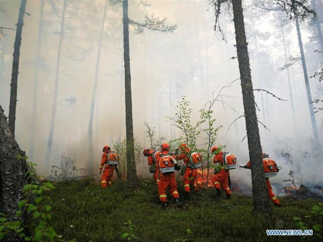 Firefighters work to extinguish the blaze at a forest in the Greater Hinggan Mountains, North China's Inner Mongolia autonomous region, June 3, 2018. [Photo/Xinhua]