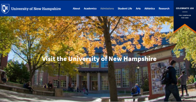 A screenshot of the website of the University of New Hampshire [Screenshot: China Plus]