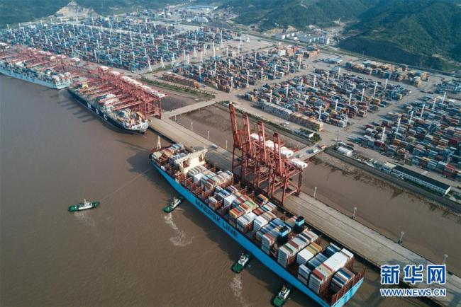 A container terminal of the port of Ningbo-Zhoushan in east China's Zhejiang province is seen in this photo taken in May 2017. [File Photo: Xinhuanet.com]