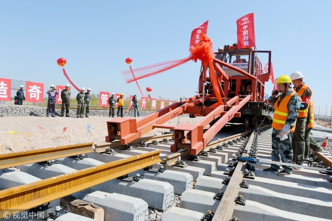 Picture taken on the construction site of the first bullet train rail line connects from Wuzhong to Zhongwei on Sept. 2nd, 2017. [File photo: VCG]