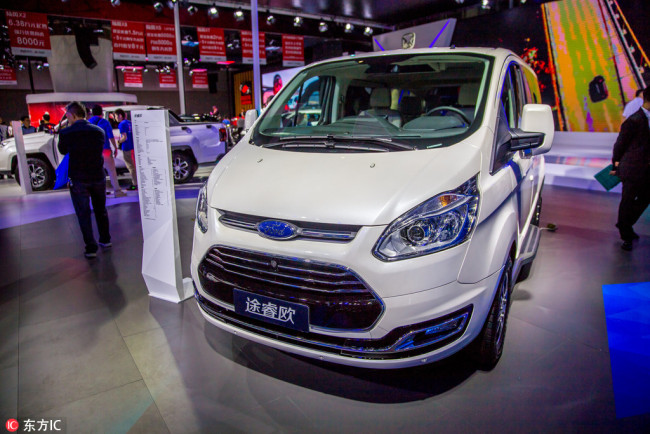 A Ford car is on display at the stand of Chang´an Ford during the 15th China (Guangzhou) International Automobile Exhibition, in Guangzhou city, south China´s Guangdong province, 18 November 2017. [Photo: IC]