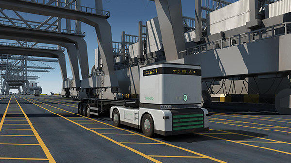 The digital picture of a model Q-Truck working in the port. [Photo: Westwell]