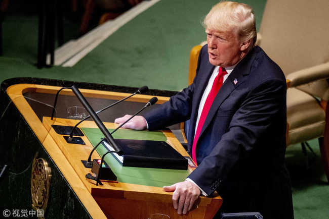 U.S. President Donald Trump addresses the United Nations General Assembly on September 25, 2018 in New York City, NY, USA. [File photo: ABACAPRESS.COM/Robin Utrecht]