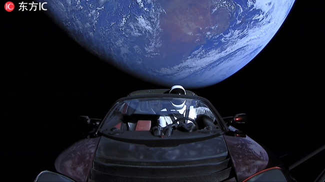 The mannequin astronaut Starman has now traveled past Mars.[from IC]