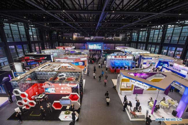 Photo taken on Nov. 6, 2018 shows exhibition booths at the Light of Internet Expo of the fifth World Internet Conference in Wuzhen Township of Tongxiang, east China's Zhejiang Province. [Photo:Xinhua]