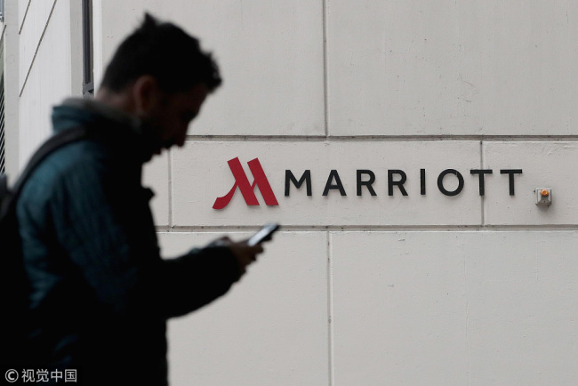 A sign marks the location of a Marriott hotel on Friday, November 30, 2018 in Chicago, Illinois.