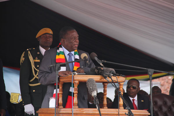 Zimbabwean president Emerson Mnangagwa delivers a keynote speech while commissioning the construction of Zimbabwe's new parliament building in Mt. Hampden on November 30th, 2018. [Photo: China Plus]