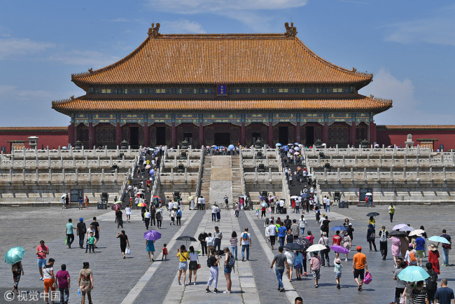 Tourists visit the Palace Museum in Beijing on June 14, 2018. [File photo: VCG]