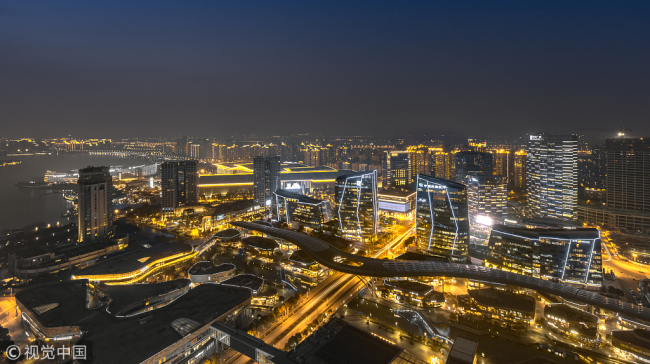 A night-time scene of the China–Singapore Suzhou Industrial Park. [Photo: VCG]