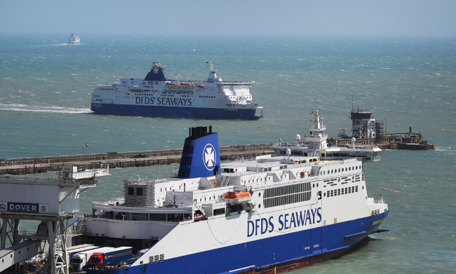 Ferries arrive at the port of Dover, south east of London, Britain, August 4, 2015. The British government has chartered ferries to deal with the possibility of an unregulated exit from the European Union. [File photo: IC/EPA/Andy Rain]