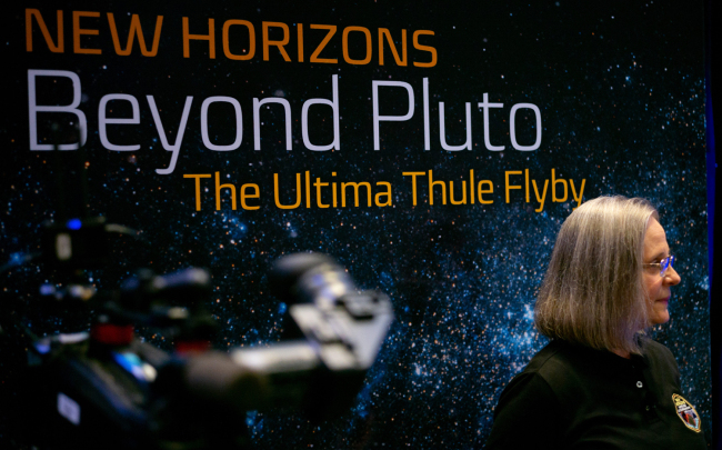 New Horizons Mission Operations Manager ALICE BOWMAN of the Johns Hopkins University Applied Physics Laboratory is seen before a press conference after the team received confirmation from the New Horizons spacecraft that it has completed the flyby of Ultima Thule, Tuesday, Jan. 1, 2019 at Johns Hopkins University Applied Physics Laboratory (APL) in Laurel, Maryland.[Photo: IC]