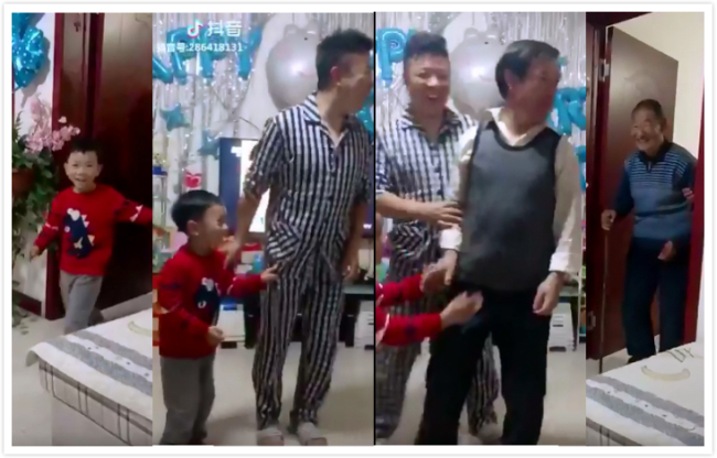 "Another ""Four generations under one roof"" themed challenge video. [Screenshot: China Plus]"