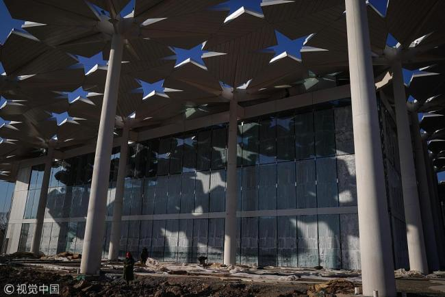 Photo taken on January 16 shows the main part of the international pavilion, which will be decorated and renovated to serve the upcoming International Horticultural Exhibition 2019. [Photo: VCG]