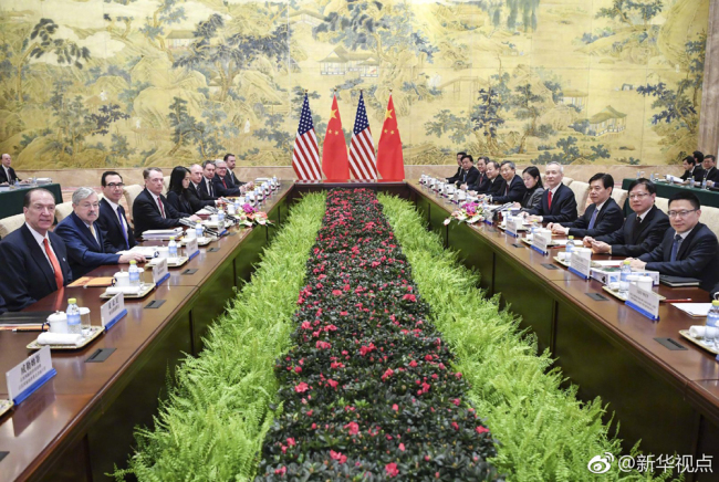 Representatives of China and the United States start a new round of high-level economic and trade consultations in Beijing on Feb. 14, 2019. [Photo: Xinhua]