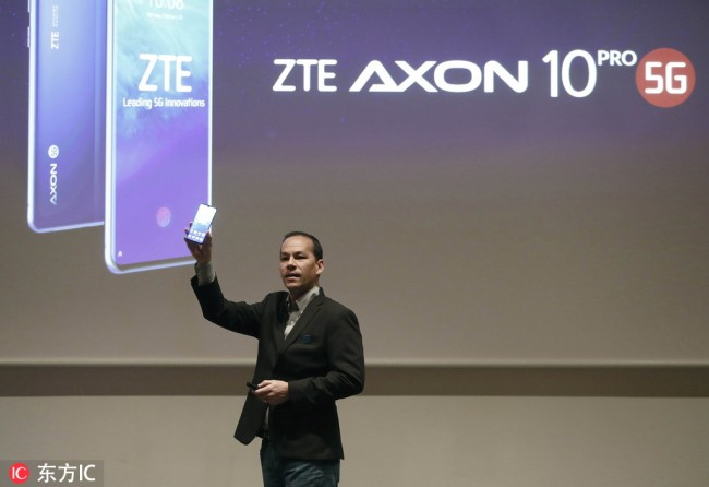New ZTE Axon 10 Pro 5G is presented on the opening day of the Mobile World Congress 2019 (MWC19), in Barcelona, Spain, February 25, 2019. [Photo: EPA via IC/Andreu Dalmau]
