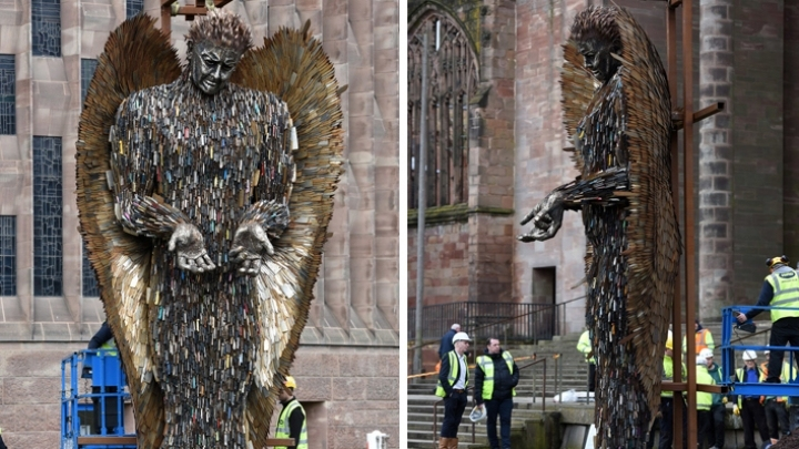 Sculpture made from confiscated knives installed at Coventry Cathedral