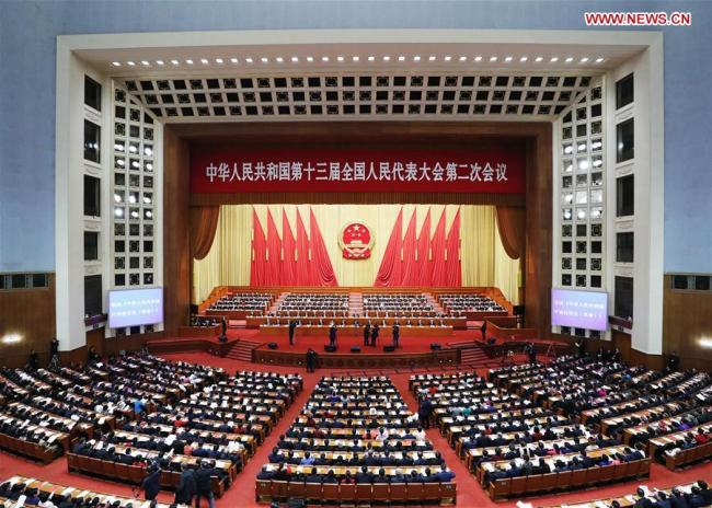 The second session of the 13th National People's Congress (NPC) holds its closing meeting at the Great Hall of the People in Beijing, capital of China, March 15, 2019.[Photo:Xinhua]