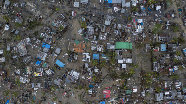 Seen from a drone Praia Nova Village, one of the most affected neighbourhoods in Beira, razed by the passing cyclone, in the coastal city of Beira, Mozambique, Sunday March 17, 2019. Families are returning to the vulnerable shanty town following cyclone high winds and rain. [File Photo: AP]