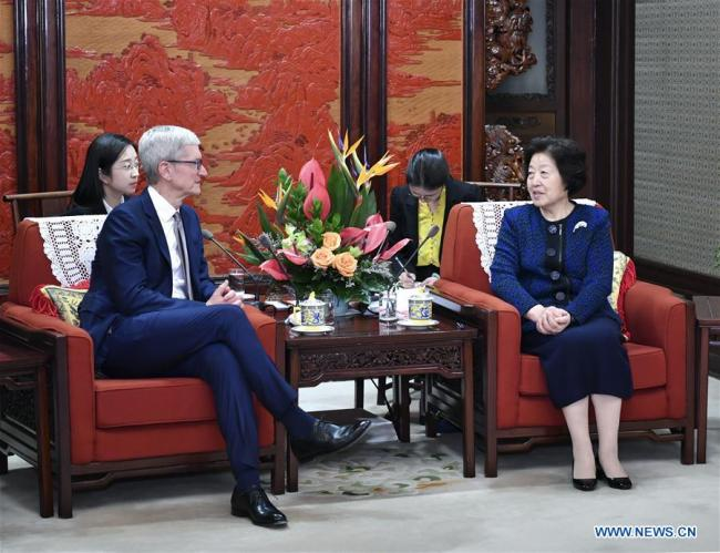 Chinese Vice Premier Sun Chunlan meets with Apple CEO Tim Cook in Beijing, capital of China, March 22, 2019. [Photo: Xinhua/Yin Bogu]