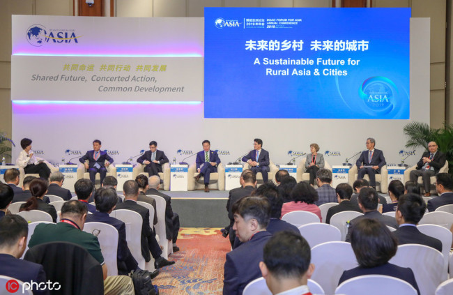 """Guests attends the """"A Sustainable Future for Rural Asia & Cities"""" session during the Boao Forum for Asia Annual Conference 2019 at the BFA International Convention Center in Boao, Qionghai city, south China's Hainan province, 29 March 2019.[Photo: IC]"""
