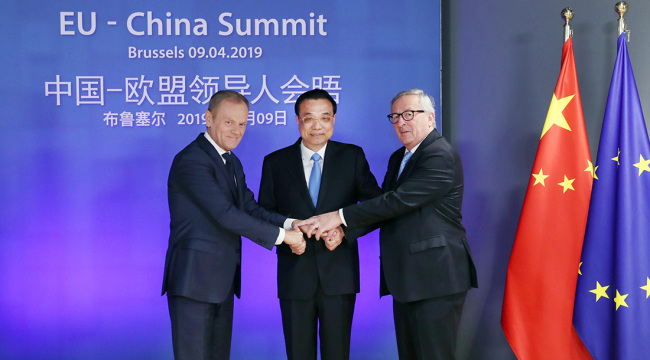 Chinese Premier Li Keqiang (C), President of the European Council Donald Tusk (L), and President of the European Commission Jean-Claude Juncker meet in Brussels for the 21st China-EU leaders' meeting on Tuesday, April 9, 2019. [Photo: gov.cn]