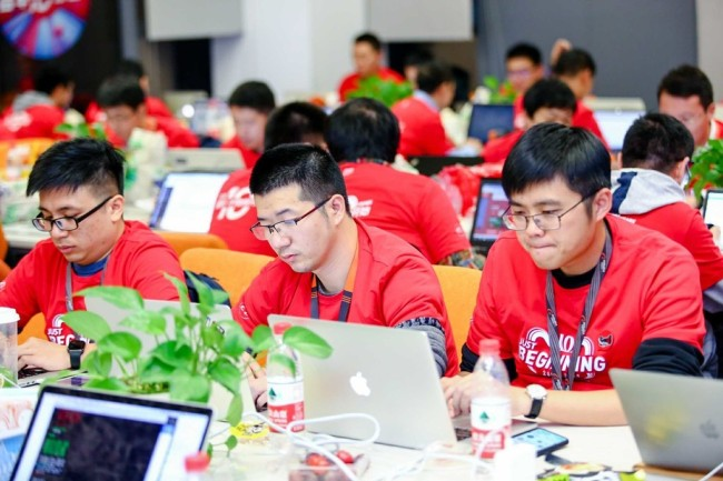 Programmers work in a Chinese tech firm. [Photo: IC]