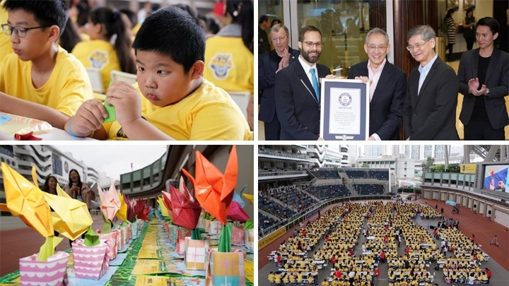 Hong Kong sets Guinness World Record for largest origami lesson