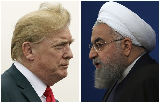 This combination of two pictures shows U.S. President Donald Trump, left, on July 22, 2018, and Iranian President Hassan Rouhani on Feb. 6, 2018. [File Photo: AP]