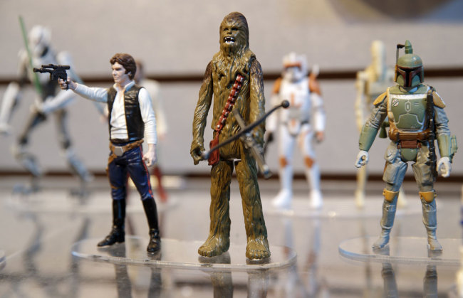 Star Wars figurines are displayed at the Hasbro showroom during the American International Toy Fair in New York, Tuesday, Feb. 18, 2014. [Photo: IC]