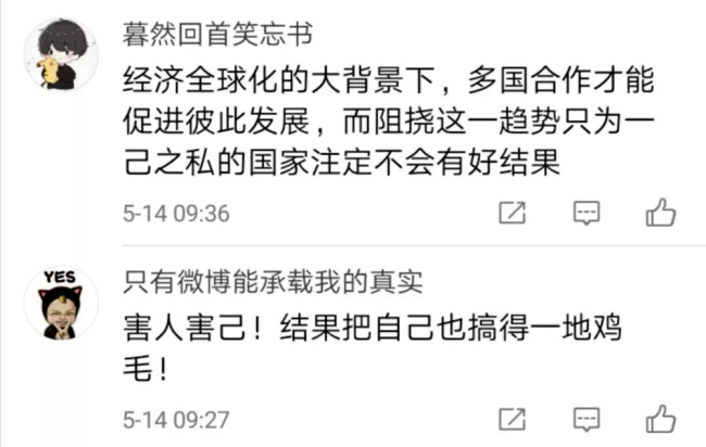 A screen shot showing some comments from Chinese netizens on the CCTV editorial. [Photo: China Plus]