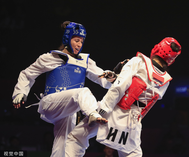 Zheng Shuyin in action during her +73kg World Championship Final bout against Bianca Walkden in Manchester, UK, May 17, 2019. [Photo: VCG]
