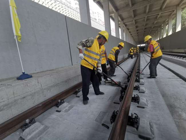 The entire track-laying construction for the Beijing-Zhangjiakou high-speed railway is completed on June 12, 2019. [Photo: China Plus]