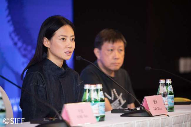 Actress Tan Zhuo speaks at a media event at the Shanghai International Film Festival, June 17, 2019. [Photo: siff.com]