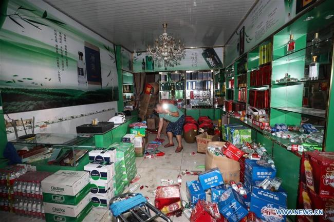 Photo taken on June 18, 2019 shows a store damaged during an earthquake in Shuanghe Town in Changning County of Yibin City, southwest China's Sichuan Province. [Photo: Xinhua]
