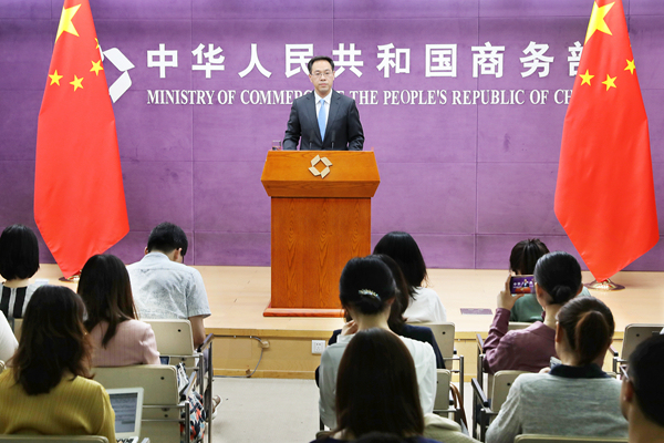 Ministry of Commerce spokesperson Gao Feng holds a press conference in Beijing, July 4, 2019. [Photo: mofcom.gov.cn]