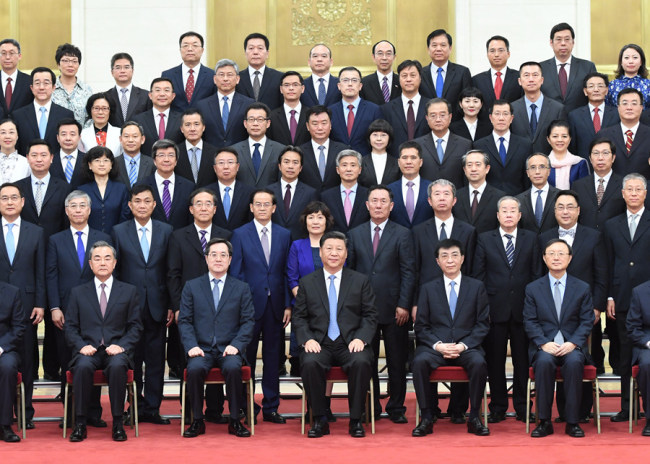 Chinese President Xi Jinping meets with Chinese diplomatic envoys to foreign countries, who are in Beijing to attend a work conference for overseas envoys, on July 17, 2019. [Photo: Xinhua]