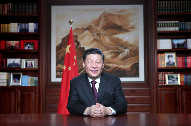 Chinese President Xi Jinping delivers a New Year speech on the eve of the year 2019 in Beijing, capital of China. [Photo: Xinhua/Ju Peng]