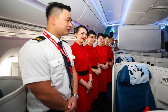 Cabin crew for a Sichuan Airlines Airbus A350 at Istanbul Airport in Turkey on Thursday, August 1, 2019. [File Photo: Anadolu Agency via IC/Muhammed Enes Yildirim]