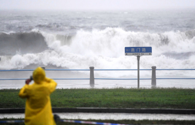 The coastal city of Qingdao in Shandong Province issues a red alert for heavy rain due to the powerful typhoon Lekima will make a second landing along the coastline in Shandong late Sunday, August 11, 2019. [Photo: IC]
