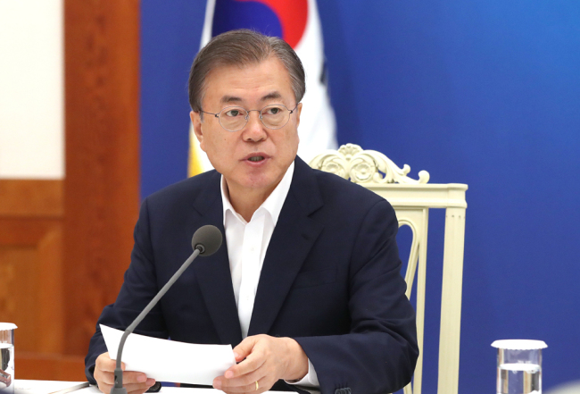 South Korean President Moon Jae-in speaks during a meeting with economic advisers to discuss the government's response to Japan's export restrictions on South Korea at the presidential Blue House in Seoul, South Korea, Thursday, Aug. 8, 2019. [File Photo: VCG/Yonhap News Agency/Yonhap]