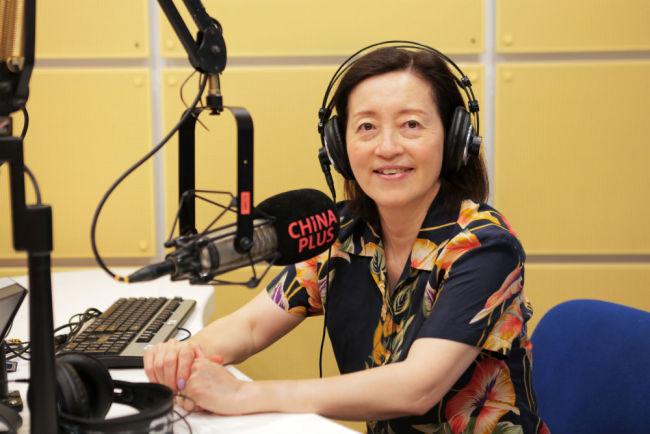 Grace Ge Gabriel takes an interview from China Plus. [Photo: China Plus]