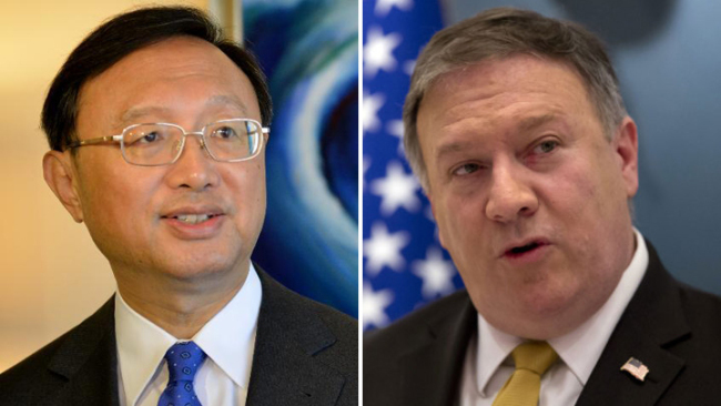 Yang Jiechi, a member of the Political Bureau of the Central Committee of the Communist Party of China (CPC) and Director of the Office of the Foreign Affairs Commission of the CPC Central Committee, and U.S. Secretary of State Mike Pompeo [File photo: China Plus]